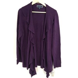 Karen Scott Purple Waterfall Front Cardigan